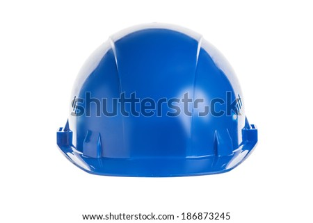 Blue construction helmet shot isolated on white  - stock photo