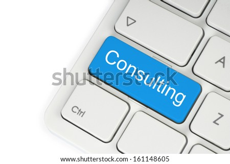 Blue consulting keyboard button on white background