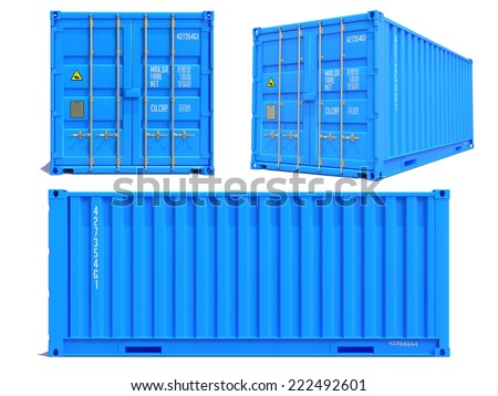 Blue Container in Three Dimensions Isolated on White Background. - stock photo