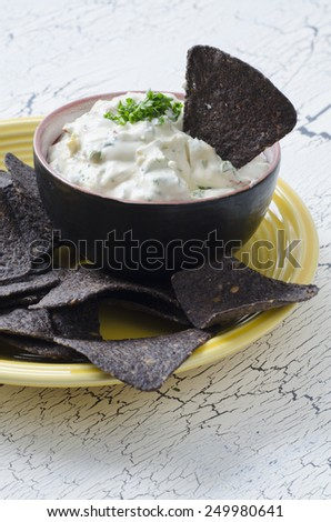 blue corn tortilla chips with ranch vegetable dip - stock photo