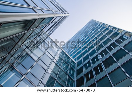 blue corporate office buildings - stock photo