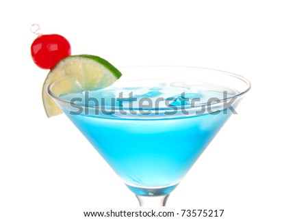 Blue Cosmopolitan cocktail with pina colada, blue curacao, white cranberry juice, lime, crushed ice and maraschino cherry in chilled martini glass isolated on a white background - stock photo