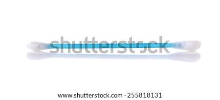 Blue Cotton Buds, cleaning brush isolated on White Background. - stock photo