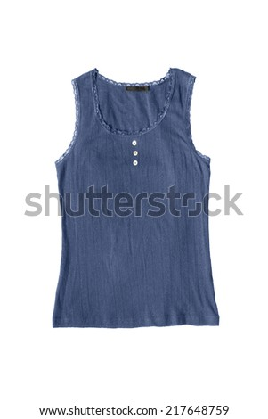 Blue cotton lacy tank top isolated over white