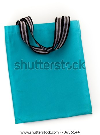 Blue cotton shopping bag on white isolated background.