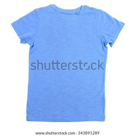 Blue cotton T-shirt isolated on white background - stock photo