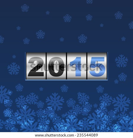 Blue counter 2015 year card with snowflakes. - stock photo