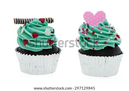 blue couple cupcake on white background - stock photo