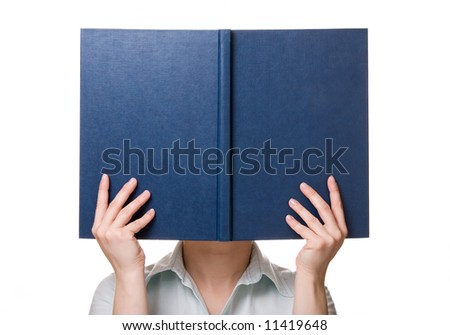 Blue cover of book in hands instead head. Isolated on white. - stock photo