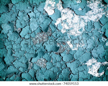 blue cracked and peeling paint background with texture - stock photo