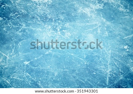 Blue cracked surface of the  ice surface - stock photo