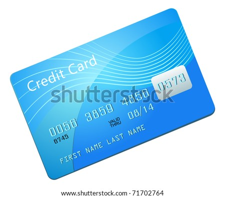 Blue credit card - stock photo