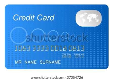 blue credit card highly detailed - stock photo