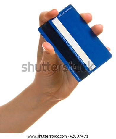 Blue credit card in a female hand. Isolation on a white background - stock photo