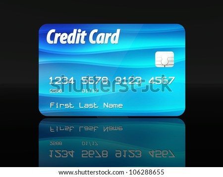 Blue credit card template design on black background - stock photo