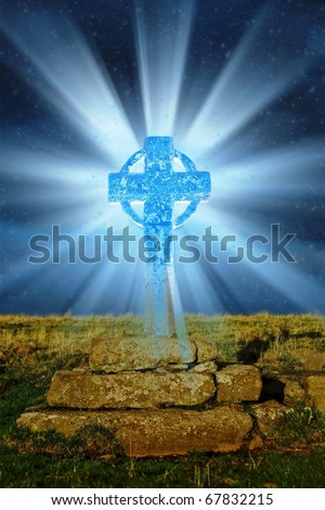 Blue cross - stock photo
