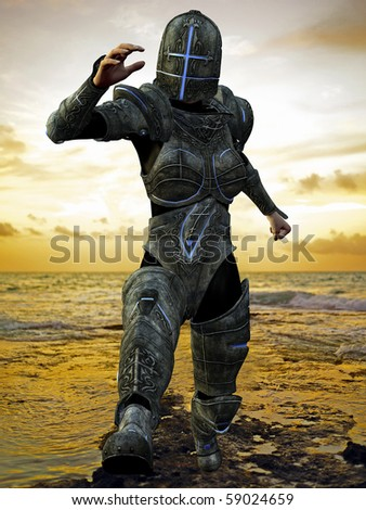 blue cross knight in jump from the beach