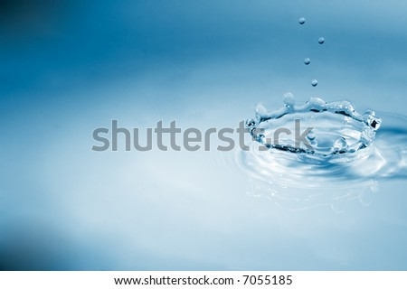 Blue crown waterdrop - stock photo