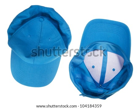 Blue crumpled  cap isolated top and bottom view - stock photo