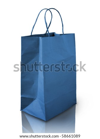 Blue Crumpled paper bag on reflect white floor - stock photo