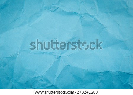 Blue crumpled paper texture background - stock photo