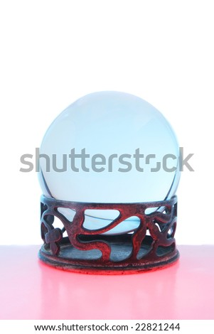 Blue crystal ball with red foreground