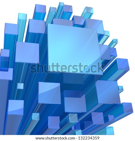 Blue crystal cubes for science or technology background. - stock photo
