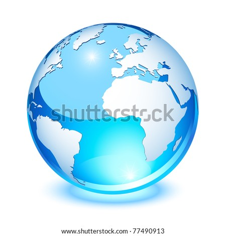 Blue crystal earth, showing Europe and Africa - stock photo