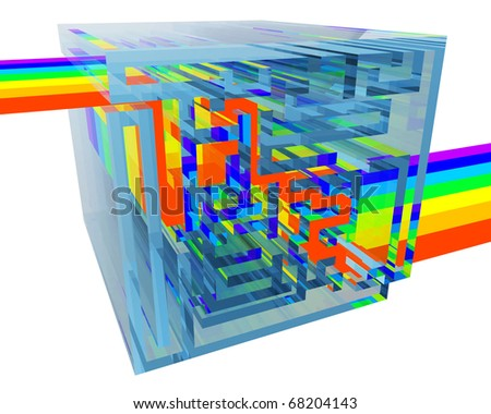 blue crystal labyrinth filled with a rainbow isolated on white background - stock photo