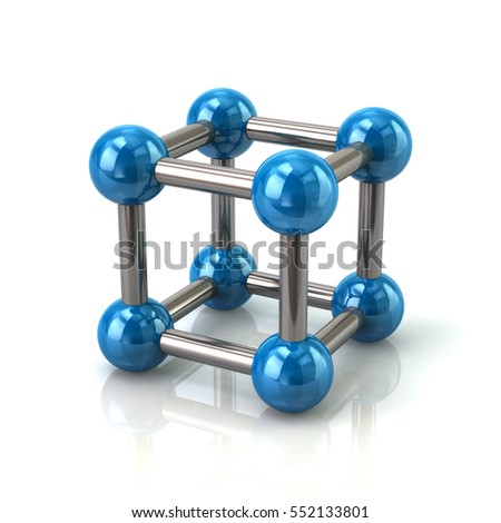 Blue crystal lattice structure 3d illustration on white background