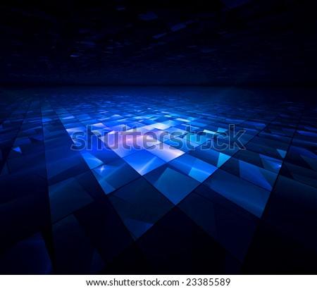 Blue Crystal Tech - 3D fractal landscape - stock photo