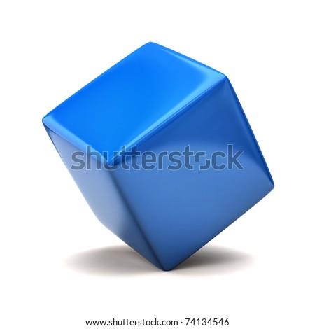 Blue cube - stock photo