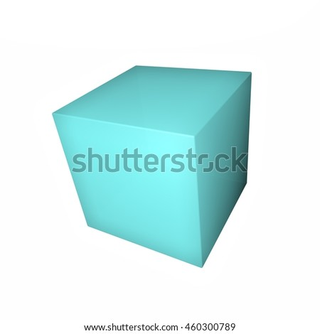Blue cube isolated over white, 3d rendering - stock photo
