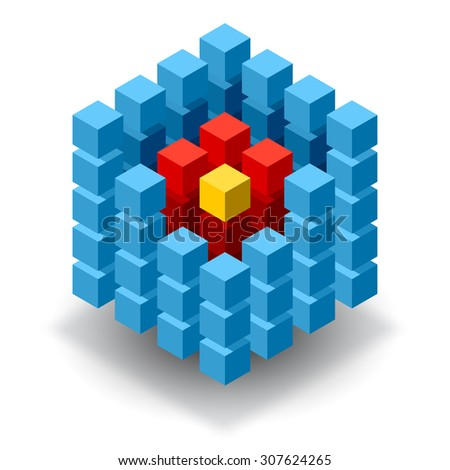 Blue cube logo with red and yellow segments - stock photo