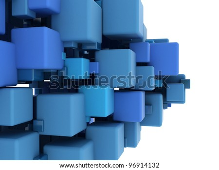 Blue cubes abstract background - stock photo