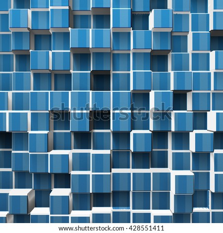 blue cubes background, 3d illustration - stock photo