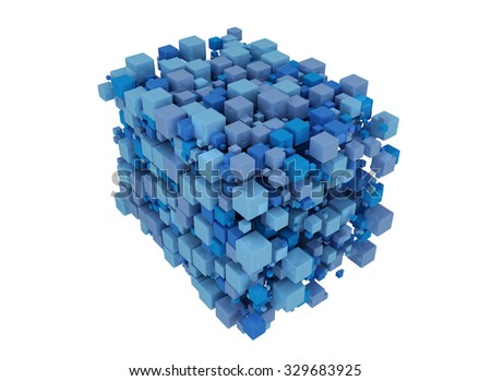 Blue cubes 3D. Isolated on white background  - stock photo