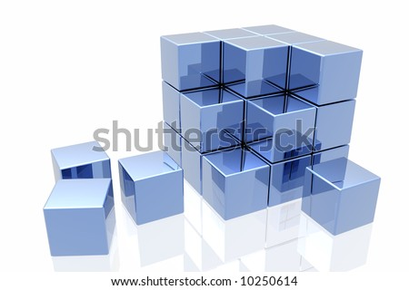 blue cubes isolated over white background - stock photo