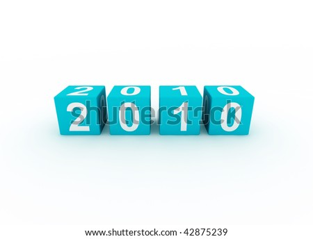 Blue Cubes New Year 2010 - stock photo