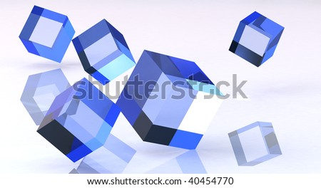blue cubes on clean background - stock photo
