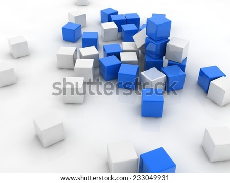 blue cubes placed observably in a group of white cubes. - stock photo