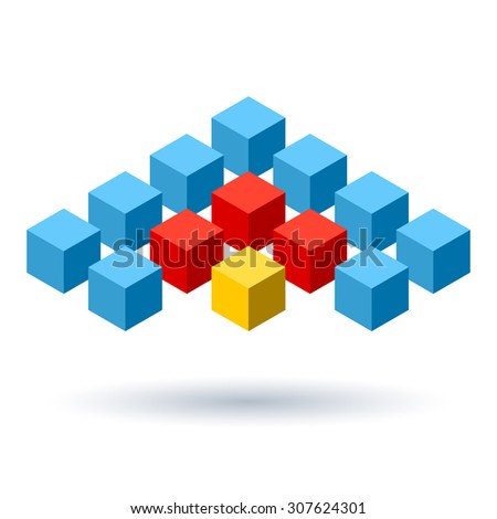 Blue cubes wings logo with red and yellow segments - stock photo