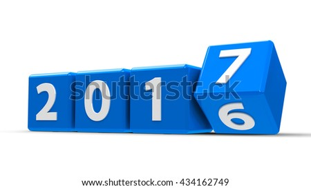 Blue cubes with 2016-2017 change on a white table represents the new 2017, three-dimensional rendering, 3D illustration - stock photo