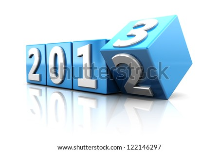 Blue cubes with number of starting new year