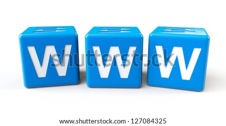 Blue cubes with www letters on a white background - stock photo
