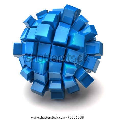 Blue cubic sphere on white background - stock photo