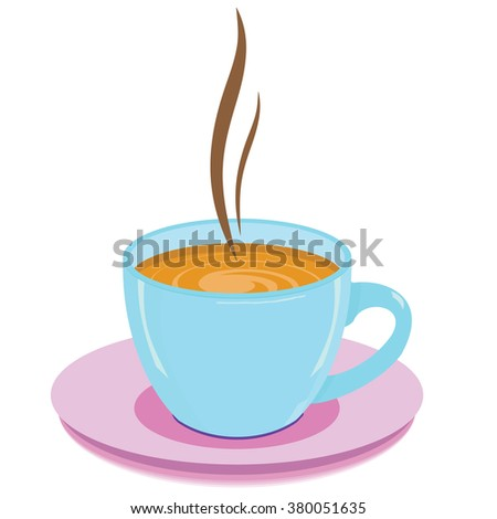 blue cup with hot drink on a white background - stock photo