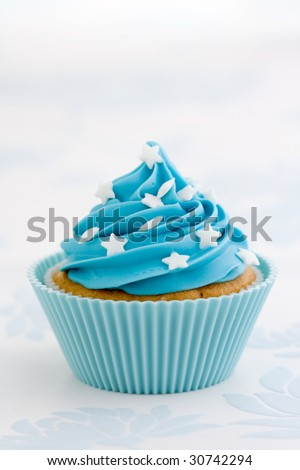 Blue cupcake - stock photo