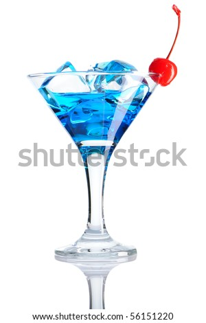 Blue Curacao cocktail isolated on white - stock photo