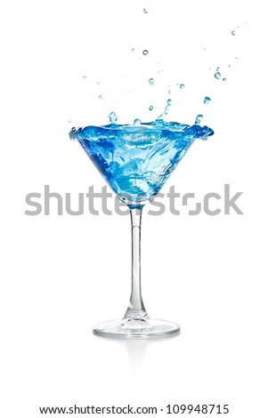 Blue curacao cocktail splash on white background